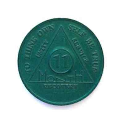 AA 11 Month Chip Aluminum Medallion Coin for Alcoholics Anonymous