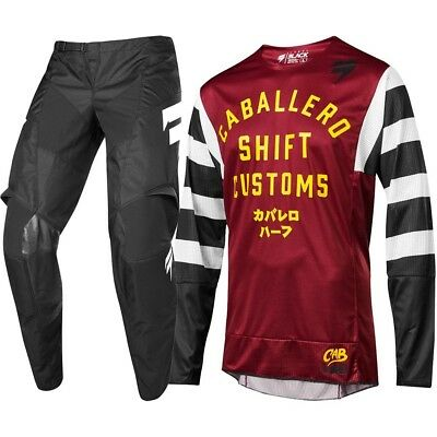 NEW Shift 2019 Youth MX WHIT3 Caballero X-LAB Dark Red Kids Motocross Gear Set