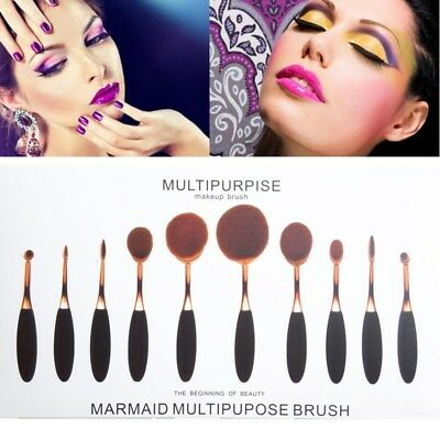 10PC Professional Oval Cream Makeup Brush Set Kabuki Toothbrush Eyeshadow Brush