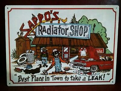 SAPPO'S Radiator Shop Best Place in Town to Take a LEAK Vintage metal Sign