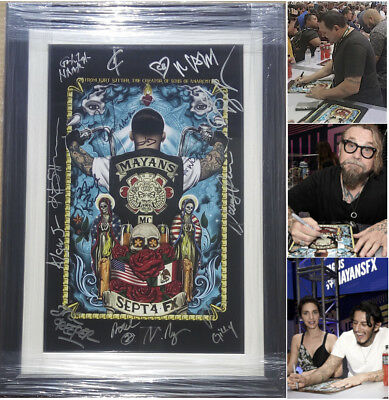 MAYANS MC Cast Signed Autographed 2018 SDCC Poster Framed COA Exact Proof Photos