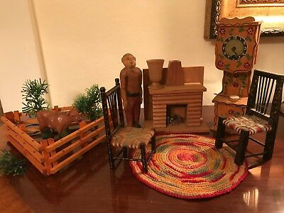 Vintage Hand Made Wood Lg Scale Fireplace Man Dollhouse Miniatures Chairs Rug