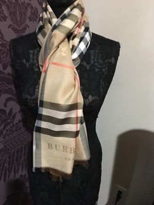 Authentic new @burberry# plaid check 100% Cashmere scarf Made In Scotland