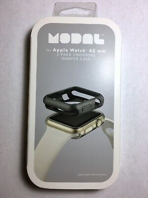 Modal - Bumper for Apple Watch® 42mm (2-Pack) - Space Grey/Clear New