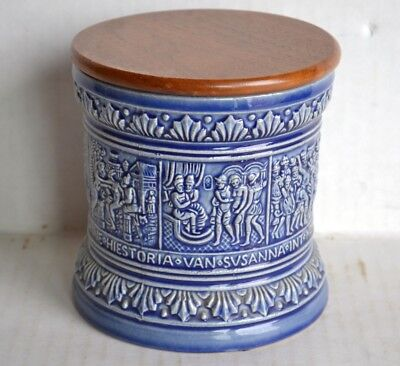 Vintage Marzi and Remy TOBACCO HUMIDOR w/Humistat - Blue Ceramic Made in Germany