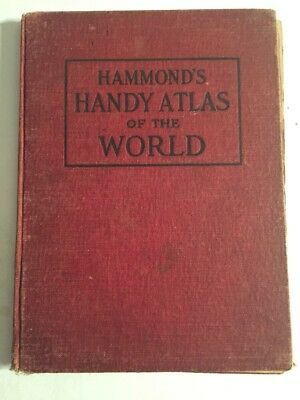 VINTAGE HAMMOND'S HANDY ATLAS OF THE WORLD, 1910, BINDING Separated