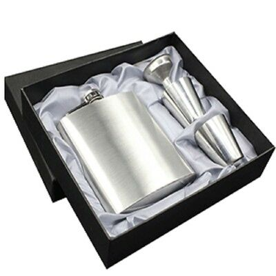Stainless Steel Leather Wrapped Hip Flask Liquor Funnel with 2Cups set Gift Box