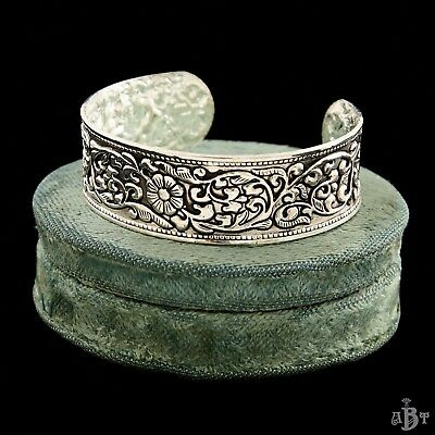 "Antique Vintage Art Deco Chinese Sterling Silver 7.75"" Lotus Cast Cuff Bracelet"