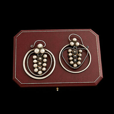 Antique Vintage Deco Sterling Silver Chinese Miao Tribe Ethnic Dangle Earrings