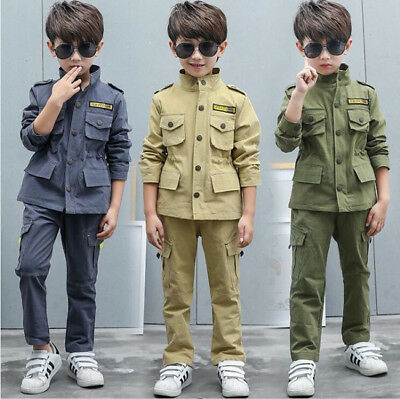 6973 Baby Kids Uniform Boys Tactical Military Outfits Sets Training Jacket+Pants