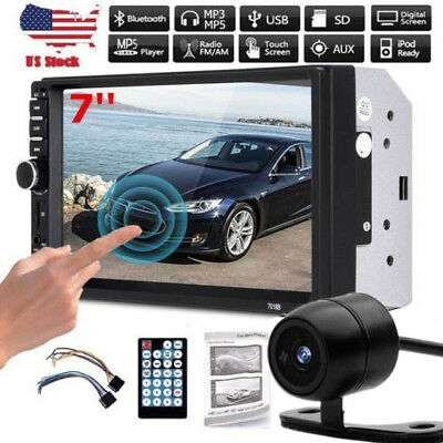 "Bluetooth Car Stereo Radio 2 DIN 7"" HD MP5 FM Player Touch Screen +Rear Camera Y"