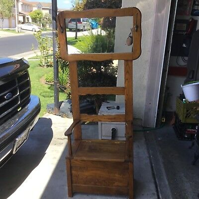 antique oak hall tree stand with seat amd armrest