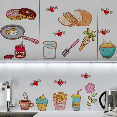 Food Pattern Self Adhesive Vinyl Removable Decal Kitchen Decor Wall Stickers