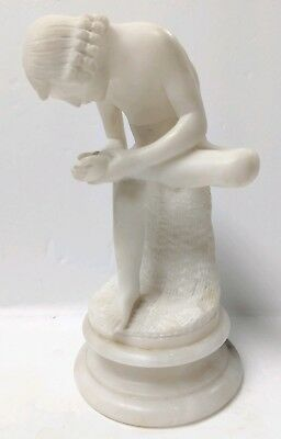 ANTIQUE 19thC MARBLE ALABASTER SCULPTURE BOY WITH THORN HAND CARVED VERY RARE