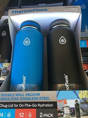ThermoFlask 2 Pack 40oz Double Wall Vacuum Insulated Light Blue & Black New