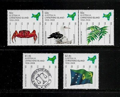 2008 50 YEARS as AUSTRALIAN TERRITORY, Christmas Island, mint set of 5, MNH MUH