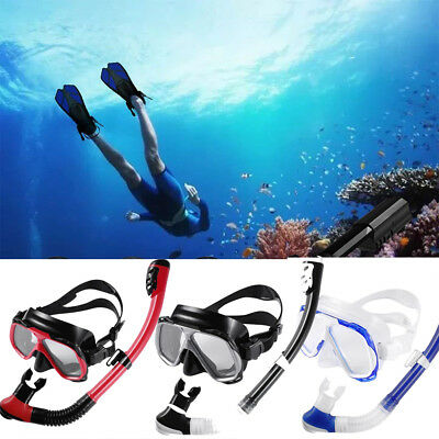 Anti-Fog Dry Mask Full Face Breath Scuba/ Snorkel Swimming Diving Fins Set OY