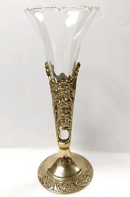 "VICTORIAN FILAGREE GLASS TRUMPET VASE BRASS METAL BASE 10"" Tall RARE"