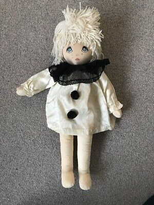 Dolls By Pauline Bjonness Jacobsen Design Pierrot Clown Soft Cloth Vintage Doll