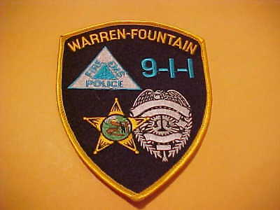 Warren-Fountain Indiana 911 Police Patch Shoulder Size Unused
