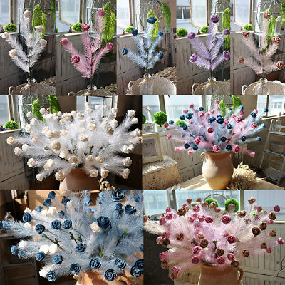 5 Heads Artificial Feather Rose Flowers Bouquet Wedding Party Home Decors DIY