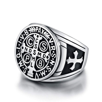 St Benedict Exorcism Ring Signet Religious Cross Ghost Demon Protection