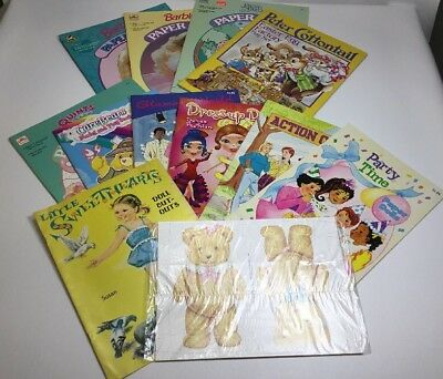 Vintage Paper Dolls Lot Of 12 Uncut Barbie Glamor World Peter Cottontail ETC