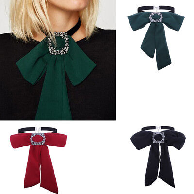 Women Chiffon Bow Tie Bowknot Blouse Office Shirt Tops Fake Collar Accessories