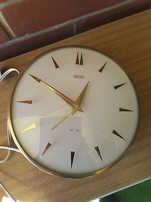 Vintage Smiths Sectric Electric Wall Clock with Metal Rim
