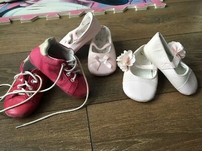 Infant Girl's size 3.5 Trainers Pink Baby Pram Shoes 3 Pairs 💕