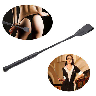 Black Riding Crop Quality Faux Leather Flirt Flogger Horse Whip Sexy Paddle Toys