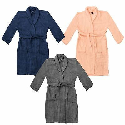 Unisex Luxury Soft Plush Fleece Bathrobe Dressing Gown Warm Comfort Cosy Shower