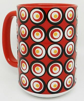 The Red Circles Tazza - Extra Large Tazza with red inner and handle by (i1H)
