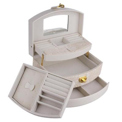 Large Jewellery Box Rings Necklace Storage 3 Layer Display Organiser Travel Case