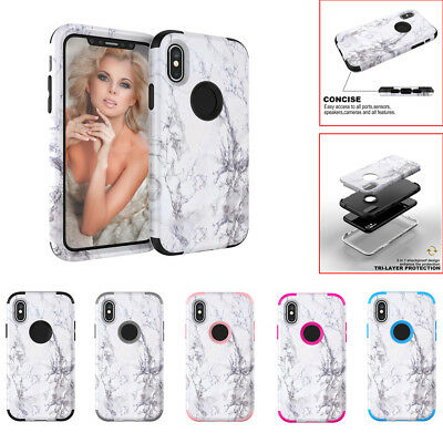 Luxury Granite Marble Contrast Color PC Hard Cover Case For iPhone XS/XS MAX/XR