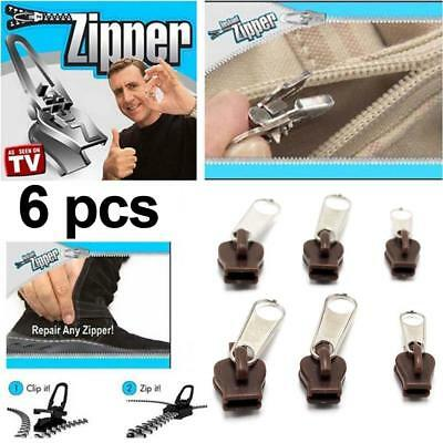 6Pcs Fix Zip A Zipper Curseur Rescue Kit réparation instant de remplacement Neuf