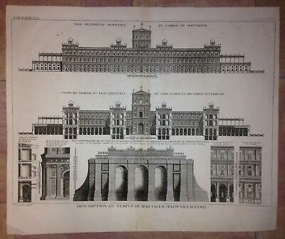 TEMPLE OF JERUSALEM by A. AVELINE XVIIIe CENTURY LARGE ANTIQUE ENGRAVED PLAN