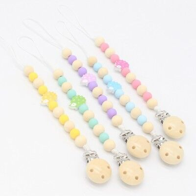 Baby Dummy Clip Holder Pacifier Clips Soother Chains Wooden Bead Teething New UK
