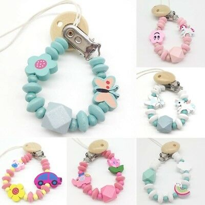 Cute Baby Dummy Clip Holder Pacifier Clips Soother Chains Cartoon Wooden Bead UK