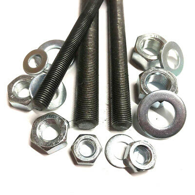 8mm 10mm 12mm FINE PITCH 1.0mm Threaded Bar - Rod Studding + Full Nuts + Washers