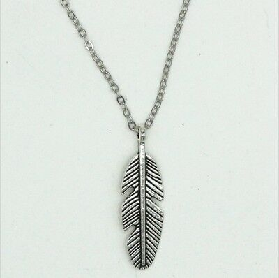 Small Antique Silver Plated Feather Pendant Charm Necklace. Gift Friend Partner