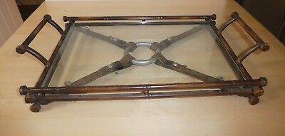 Unusual Art Deco Colonial Bronzed Bamboo Effect Metal Cocktail Tray