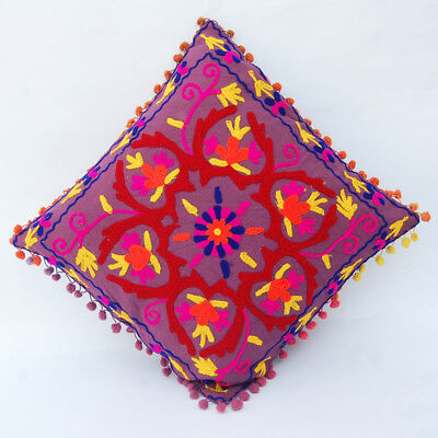 """Indian Handmade Embroidered Suzani Cushion Cover 16""""Vintage Suzani Pillow_Case1B"""