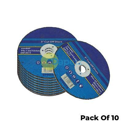 10 Pack 75mm X 1.6mm Metal Cutting Cut Off Discs 9.5mm Bore High Quality