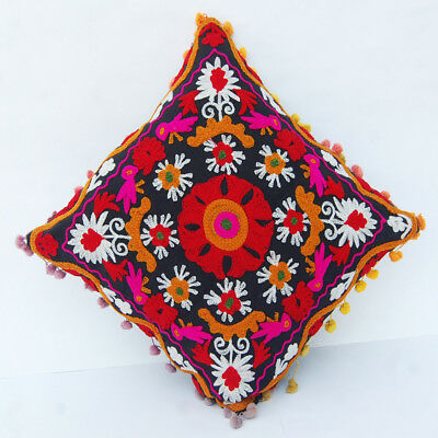 """Indian Handmade Embroidered Suzani Cushion Cover 16""""Vintage Suzani Pillow_CaseS3"""