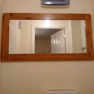 High Quality Solid Oak Framed Wall Mounted Mirror 120cm by 64cm Bevelled Glass