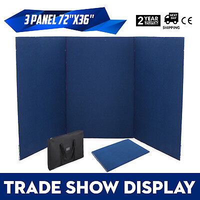 72 x 36 3 Panel Tabletop Display Presentation Board Tri-Fold Stand Blue