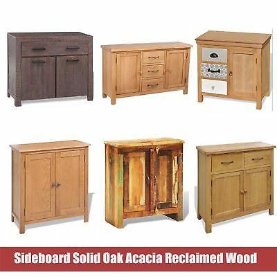 Sideboard Solid Oak Acacia Wood Storage Cabinet Chest Of Drawers Large Cupboard