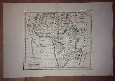 AFRICA 1794 ROBERT DE VAUGONDY ANTIQUE COPPER ENGRAVED MAP 18e SIECLE