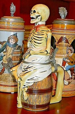 'Skeleton Sitting on a Beer Barrel' Character Stein  1/2 L (Mettlach Era)